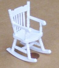 1:12 White Painted Wooden Rocking Chair Dolls House Miniature Garden Furniture