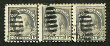 "(1916-17) #475 15¢ ""Franklin"" used strip of 3 stamps"