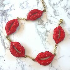 Kiss Lips Crystal Red Hot Lip Betsy Johnson Swarovski Lipstick Pin Up Necklace