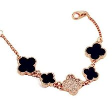 ROSE GOLD PLATED 4 LEAF CLOVER MADE WITH SWAROVSKI CRYSTALS BRACELET CHAIN