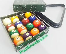 "LARGE 9 Ball Kelly Pool Balls 2 & 1/4"" inch With Triangle to Suit American Pool"