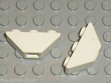 2x LEGO White slope brick 2341 / set 8286 6958 6351 6336 6430 6418 6598 ...