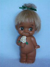 "Large 9"" Vinyl Rubber Sekiguchi Big Eye Kewpie Doll Rooted Hair, Flowers Japan"