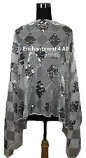 Elegant Handmade Oblong Checks Lace Scarf Shawl Wrap w Sequins, Off White/Silver
