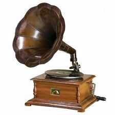 Woodland Imports Wood and Brass Gramophone Tabletop Decor NEW Phonograph Player