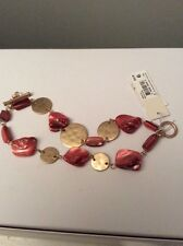 $42 Kenneth Cole New York  Gold Tone Mixed Shell Two Row Toggle Bracelet #105