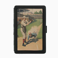 Vintage Baseball D10 Black Cigarette Case / Metal Wallet Card Money Holder
