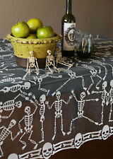 "SD-5858P USA Lace 58"" Halloween Skeleton Dance Square Table Cloth Topper Skull"