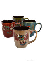 Set 4 Extra Large 24oz Assorted Color Owl Stoneware Hand Painted Tea Coffee Mugs