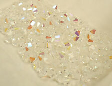 2 gross vintage machine cut glass faceted bicone beads crystal AB 6mm Czech