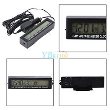 Car 3 In 1 LCD Digital In/Out Door Clock Thermometer Temperature Voltage Meter