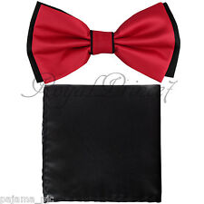 Wedding Black Red Pre-tied Bow tie and Black Pocket Square Hankie Two Layers