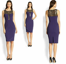 $460 Black Halo Tatum Purple Sequined Sleeveless one of a kind Dress NWT SZ 2