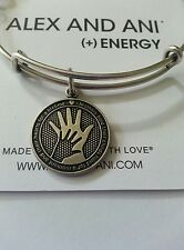 NWT Alex and Ani HAND IN HAND Mother's Love Charm Bangle BOX Bracelet R Silver