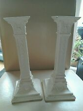 ANTIQUE MINTON CREAM EARTHENWARE CANDLESTICKS WITH T MARK ON BASE