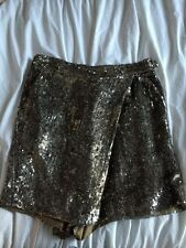 Auth 3.1 Phillip Lim Silk Lined Metallic Silver Sequin Wrap Front Shorts Sz 4