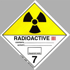 "4"" x 4"" RADIOACTIVE Decal Hazard Sticker Warning Label DOT OSHA Man Cave toxic"