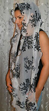 Head Covering for Jewish women Shabbat and Holidays.Design Scarf Black Flowers