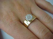 14K GOLD LADIES FLOWER TOP DIAMOND RING 6.2 GRAMS, SIZE 8.5, 0.30 CT T.W.