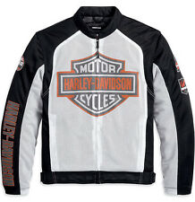 Harley-Davidson Mens LARGE B&S Logo Mesh White Functional Jacket 98232-13VM