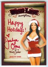 "JASLYN OME ""HAPPY HOLIDAYS INSCRIPTION AUTOGRAPH #1/1"" BENCHWARMER HOLIDAY 2014"