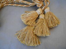 Pair of  French Vintage PASSEMENTERIE CURTAIN POMPOMS TASSELS OCRE color