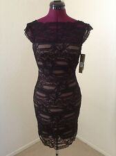 NWT Nicole Miller $465 Black Lace/Lace Top*Low Back Cocktail Dress*Small