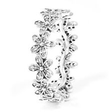 DAISY 925 Solid Sterling Silver Sparkling White Pave Flower Ring Size 7 / 54