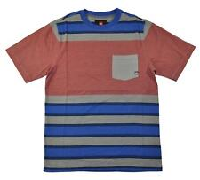 Quicksilver Big Boys Red & Blue Striped Pocket Tee Size 12 (Medium)