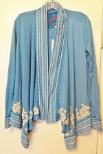 FREE SHIP JWLA Johnny Was Blue Embroidered Wrap Cardigan Duster Size S NEW w TAG
