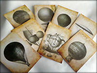Set of 8 Vintage Style Post Card Air Balloon Tags/Toppers