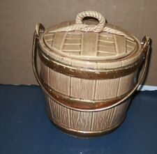 VINTAGE 1960'S McCOY POTTERY OAKEN BUCKET COOKIE JAR WITH BRASS HANDLE
