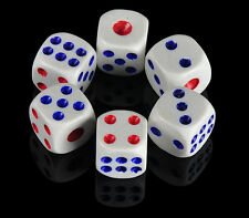 10 x Opaque Six Sided Spot Dice, Size 10mm - D6 RPG - Game Dice White With Blue
