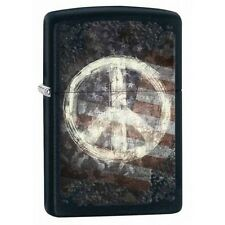 Zippo 28864 peace sign & flag black matte finish full size Lighter