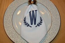 Personalized Laurel Wreath Cloth Napkin Your Initial Embroidered in Your color