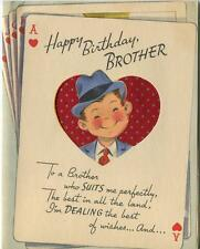 VINTAGE ACE OF HEARTS POKER CARD GAME BROTHER AKQJ10 HEARTS GREETING CARD  PRINT