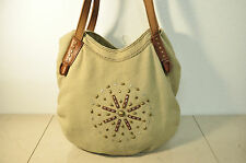 Lucky Brand Boho Canvas Leather Trim Studded Hobo Bag Tote Shopper