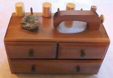 OLD ~ CEDAR SEWING BOX with a SEWING MACHINE HANDLE!  NICE!!