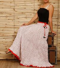 Indian Hand Block Printed long gathered Skirt Women's Ethnic Cotton casual  #S-3