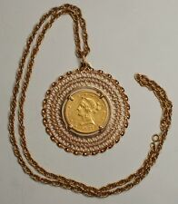 """Beautiful 1887-S $10 Gold Eagle in 18K Pendant & 14K Necklace 24"""" Coin Jewelry"""
