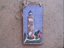 """Pretty Hand Painted Stone Island Raised Lighthouse Scene bas relief 4x8"""""""