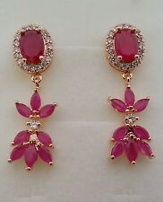 GORGEOUS 14cts RED RUBY  925 STERLING SILVER DANGLE EARRINGS GOLD PLATED