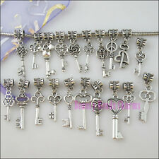 20Pcs Mixed Connector Silver Key Charms European Bail Beads Fit Bracelets