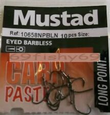u NEW 30 x 3 packs MUSTAD EYED BARBLESS HOOKS Size  14  Carp PASTE Pellet