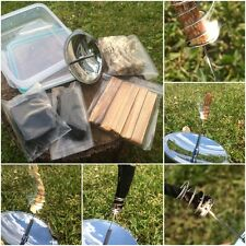 Bushcraft Parabolic Solar Fire Lighter Fat Wood Hemp Char Cord/Cloth Tinder Kit