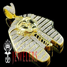14K Gold Silver Lab Diamond King Tut Tutankhamun Egyptian Pharaoh Pendant Charm