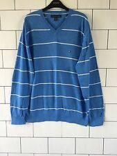 Mens azul a rayas Tommy Hilfiger años 90 Vintage Retro Knitted Jumper Pullover Reino Unido L