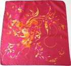 Jacqmar vintage silk scarf - Crimson Pink/ Yellow Swirl print - 1960s - Medium