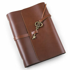 Ancicraft Refillable Leather Journal Diary With Retro Key A5 Blank Red Brown