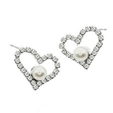 Stunning Heart Shape with Pearl and White Crystals Earring Studs